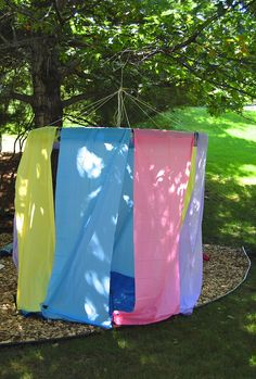ikat bag: Tea Party Behind The Scenes - Yard Trash Outdoor Pavilion Outdoor Forts, Outdoor Play, Outdoor Ideas, Projects For Kids, Diy For Kids, Crafts For Kids, Hula Hoop Fort, Cool Forts, Outdoor Pavilion