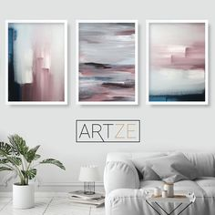 Set of 3 Abstract Navy & Blush Pink Art Prints from Original Textured Paintings Wall Art Print Poster print wall art Pictures Artwork Pink Abstract, Abstract Wall Art, Blush Rosa, Blush Pink, Wall Art Prints, Poster Prints, Framed Prints, Wal Art, Orange Wall Art