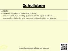 12 question quiz on the topic of school. GCSE reading skills practice using authentic resources.