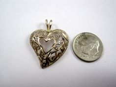 Ladies Sterling Silver .925 Heart Elegant Design Pendant Trendy Vintage Stylish