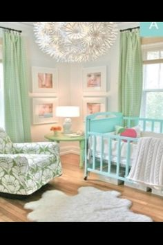 This Nursery color scheme would be great for a girl or a boy- very gender neutral and bright yet calming. Perfect!