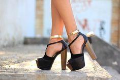 black platform , Jeffery Campbell, gold ankle cuff