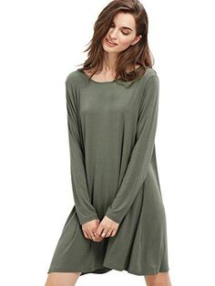 ROMWE Women's Crew Neck Long Sleeve Casual Loose Tshirt Dress Tunic Tops