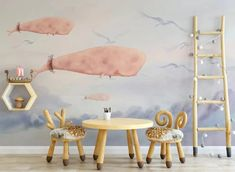 Pink Whales Birds Wallpaper Mural Decal Mural Photo Sticker Decal Wall Self-Adhesive Wall Art Design printed Removable Wallpaper Kids Room Wallpaper, Paper Wallpaper, Self Adhesive Wallpaper, Home Wallpaper, Custom Wallpaper, Peel And Stick Wallpaper, 3d Wall Murals, Graffiti Wall, Wall Decals