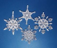 Quilled Snowflake Ornament - Set of 4 Different Christmas/New Year's Handmade Decoration