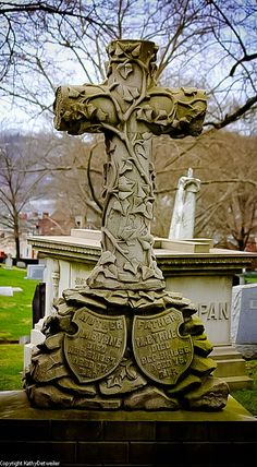 I love old cemeteries and grave stones. Pittsburgh has one of the oldest and neatest cemeteries i. Cemetery Monuments, Cemetery Statues, Cemetery Headstones, Old Cemeteries, Cemetery Art, Graveyards, Angel Statues, Dark Side, Unusual Headstones