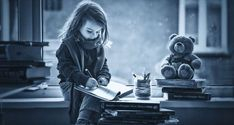 Adorable little girl, writing letter to Santa, sitting on a wind by Kemi H Photography Kids Writing, Letter Writing, Cute Little Girls, Cute Kids, Adorable Petite Fille, Girl Reading Book, Santa Letter, Black And White Portraits, Beautiful Children