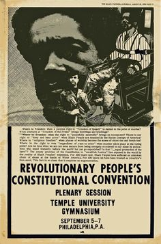 Call To Philly Panther Convention 1970