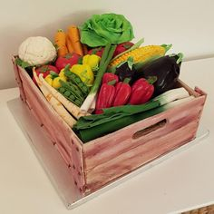 wood crate cake with vegetables by iratorte