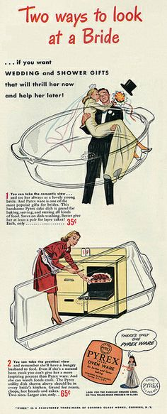1946 Illustrated Ad, Pyrex Cookware, with Bride and Groom | Flickr - Photo Sharing!
