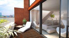 Vizualizácia mezonetu - pohľad z terasy Outdoor Furniture, Outdoor Decor, Sun Lounger, Divider, Room, Home Decor, Chaise Longue, Homemade Home Decor, Rooms