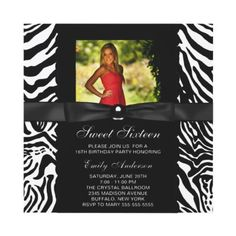 Zebra Print Sweet 16 Party Invitation