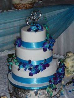 """""""Two Hearts"""" Dendrobium Purple & Turquoise Orchids & Turquoise Ribbon Wedding Cake :) <3"""