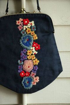 Japanese Embroidery Flowers Adorable black oversize coin purse bag with colorful rainbow colored flower embroidery Embroidery Bags, Japanese Embroidery, Floral Embroidery, Embroidery Stitches, Embroidery Patterns, Machine Embroidery, Handmade Bags, Needlework, Sewing Projects