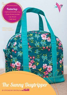 Sunny Daytripper Bag PDF Sewing Pattern Cover by christy Tote Purse, Tote Handbags, Tote Bags, Sewing Patterns For Kids, Bag Patterns To Sew, Sewing Ideas, Bag Sewing, Fabric Bags, Sewing Accessories