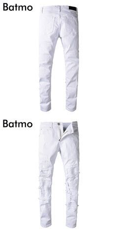 Batmo 2018 new arrival spring high quality fashion holes casual white slim jeans men,men's casual jeans ,plus-size 28-40 503