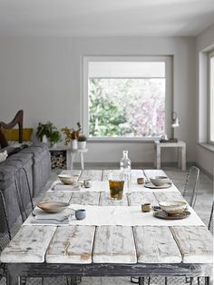 Dining table made of scaffold wood