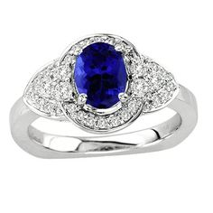 Oval Tanzanite #Ring in 14K White #Gold with #Diamonds, $1998