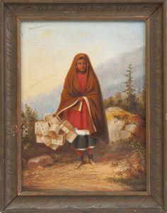 Cornelius David Krieghoff (Canadian, 1815-1872) Native American Basket Seller   Cottone Auctions