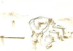 La Naissance de Célestine (page 5) - 1987 Encre et rehauts sépia sur papier - 15 x 21 cm