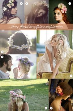 Floral Garland Headpieces ~ Inspiration for Brides...