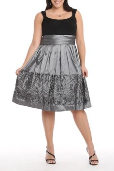 RM Richards Candice Applique Dress In Black & Silver - Beyond the Rack