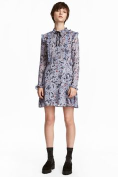 Ruffled Cotton Dress - Dusky blue/floral - Ladies | H&M CA 1