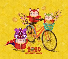 Happy Chinese New Year 2020 Text Rat Zodiac Bicycle - Stock Vector - Nails Happy New Year Images, Happy New Year Quotes, Quotes About New Year, Happy New Year 2020, Chinese New Year 2020, Happy Chinese New Year, Rat Zodiac, Chinese Cartoon, Year Of The Rat