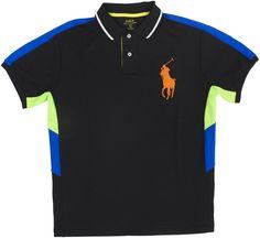 Polo Ralph Lauren Men's Performance Mesh Big Pony Polo Shirt, Black (X-Large)