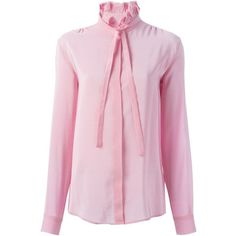 MSGM Pussy Bow Shirt ($404) ❤ liked on Polyvore featuring tops, pink silk shirt, silk shirt, msgm, silk top i pink shirt