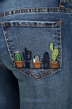 If a great pair of give you heart eyes, look no further than the Cacti On You Medium Wash Embroidered Skinny Jeans! Medium-weight denim (with light whiskering and distressing) is formed to a five pocket cut, with belt loops, top button closure, and Cute Embroidery, Hand Embroidery Stitches, Cross Stitch Embroidery, Embroidery Ideas, Embroidery On Jeans, Knitting Stitches, Embroidery Fashion, Embroidery Patches, Embroidered Cactus