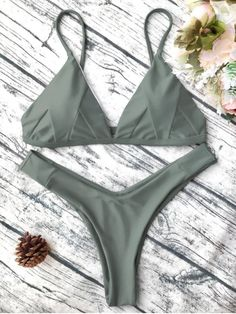 Cami plunge bikini top and high leg thong swim bottoms,this bathing suit features soft padding,pull-over design,and adjustable straps.Color:Green,Burgundy,Yellow. Nylon,Polyester,Spandex Bra Style: Padded Tankini Boho Outfit Bikini Swimsuit Lace