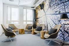 Wood wall covering, digital wallpaper print for office graphics