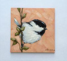 Chickadee painting Original impressionistic oil par LaveryART