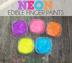 Neon Taste Safe Finger Paints Baby and Toddler safe! And only two ingredients! Also has a bunch of ideas for things to do with infants ages 3-6 months.