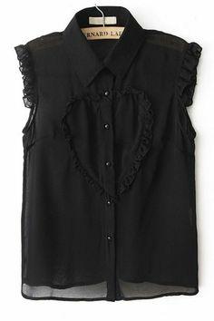 10a317d5fc black Ruffled Heart Chiffon Shirt Classy Party Outfit