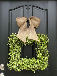 Wreaths - Boxwood Wreath - Square Wreath - Summer Decor - Burlap Ribbon - Year Round Wreath via Etsy