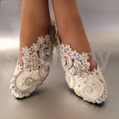 White-ivory-pearls-lace-crystal-Wedding-shoes-flat-ballet-Bridal-size-5-12