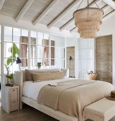 Im loving the beachy/coastal vibes of this bedroom. Do you love the rounded beams? - Architecture and Home Decor - Bedroom - Bathroom - Kitchen And Living Room Interior Design Decorating Ideas - Home Interior, Interior Design, Airstream Interior, Interior Windows, Tropical Home Decor, Tropical Interior, Coastal Decor, Bohemian Beach Decor, Tropical Furniture
