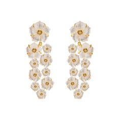 Carved Mother of Pearl Flower Lemon Quartz Earrings ❤ liked on Polyvore featuring jewelry, earrings, earring jewelry, flower jewellery, carved earrings, carved jewelry and lemon quartz jewelry