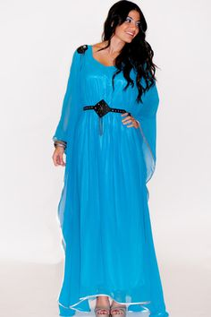LF19 Light Blue Chiffon Maxi Dress Caftan One by ForTheDesertRoses, $60.00