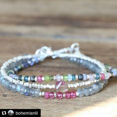 #Repost @bohemianlil  Pretty Stack of Multi Gemstone Bracelets. You can find them all at my shop on Etsy!