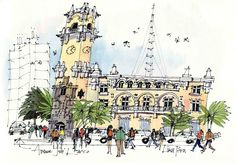 Watercolor Architecture, New Architecture, Tree Sketches, Drawing Sketches, Sketching, James Richards, Artist Journal, Hand Sketch, Urban Sketchers