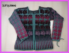 The cardigan is knitted in Kauni effect yarn. For the models are used green and yellow nuances for the background and blue/violet/green for the leaves for the cardigan at the right side of the picture - rainbow colours for the one left at the upper picture.