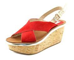 Diane von Furstenberg Women's Maven Wedge Red Suede Sandals