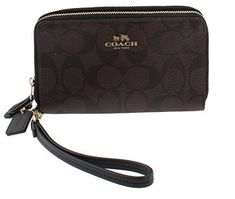 """Coach Signature PVC Wristlet Double Zip Wallet Phone Case F53937 (Brown/Black). Signature coated canvas. Four credit card pockets. ID window, Zip closure. Outside open pocket Wrist strap attached. Approx. 6 1/4"""" (L) x 3 3/4"""" (H)."""