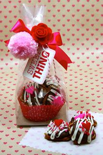 Valentine Treat bag with Pretzel Rolo Treats.