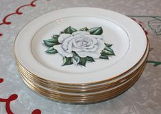 Vintage White Coronation Rose Dinner Plates Homer by FelicesFinds