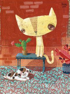 Patio rojo  Collage y acrílico. 2011.
