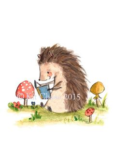 This little hedgehog loves his books. - art print from an original watercolor, gouache, and acrylic painting by Kit Chase. - archival matte paper and ink - vertical print - ships worldwide from the U.